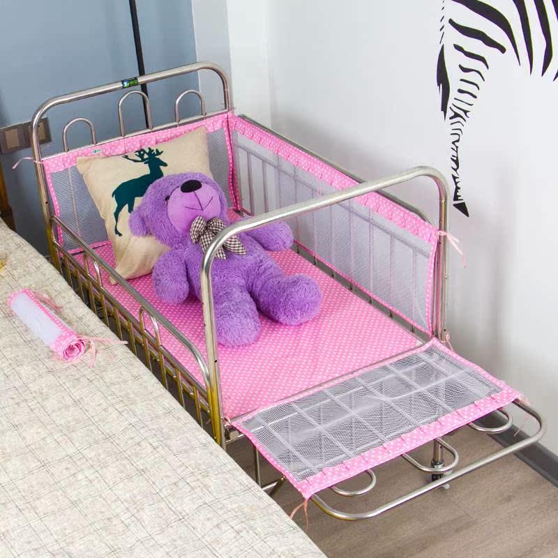 祺宝不锈钢婴儿床多功能宝宝床可加长游戏床童车童床环保无漆铁艺