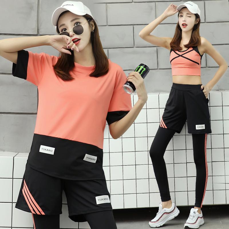 韩国春夏健身服女户外晨跑运动衣高弹大码宽松健身房瑜伽服套装潮