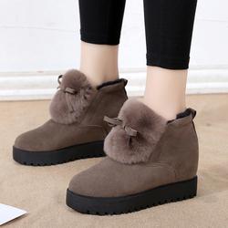 真兔毛雪地靴女2018冬季新款短筒加绒加厚短靴保暖防滑内增高棉鞋