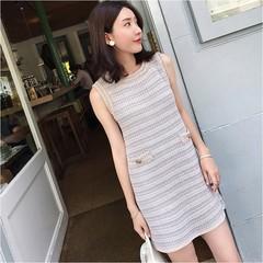 春装2019款女春秋裙子夏连衣裙流行很仙的法国小众无袖口袋气质