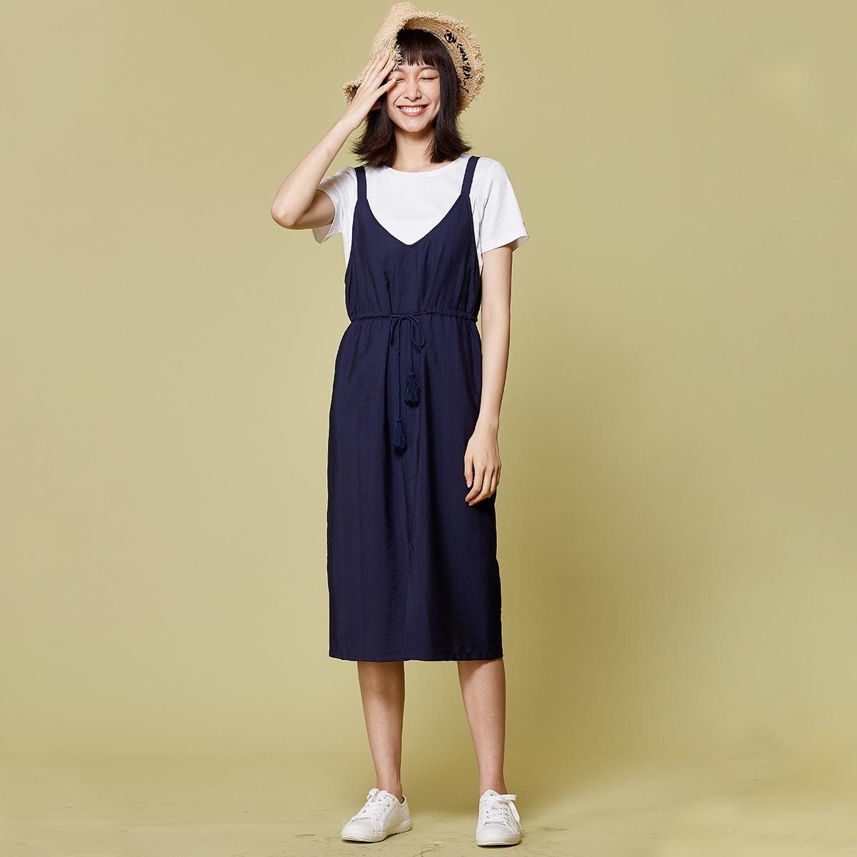 费依 减龄学院风连衣裙两件套女 2019春季新款短袖T恤背心裙套装