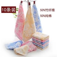 10条装方巾小毛巾童巾柔软竹纤维全纯棉吸水婴幼儿园挂绳擦手批發