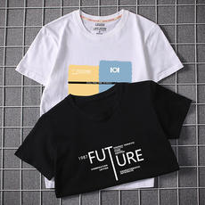 Summer Men's Short Sleeve T-Shirt Cotton Round Neck Loose White Korean Trends Large Size Half Sleeve T-Shirt Men's Tops