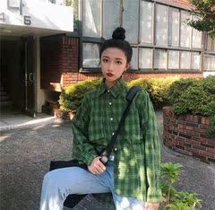春季韩版宽松中长款格子开衫长袖衬衣原宿风衬衫外套女学生上衣