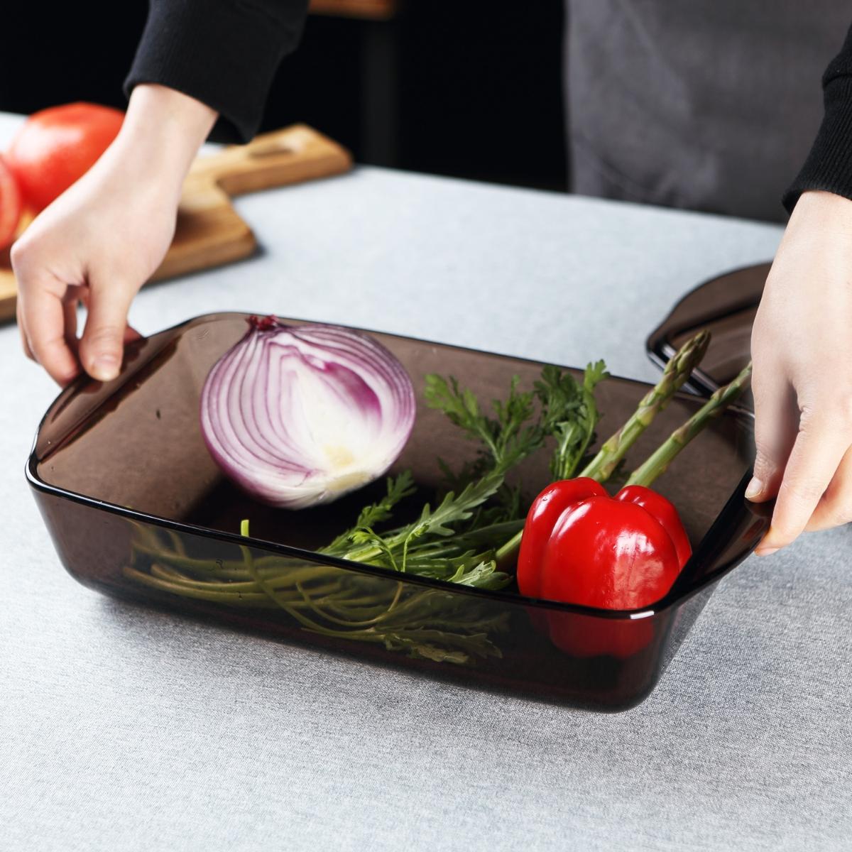 协龙腾钢化玻璃盘家用玻璃烤盘菜盘子餐盘微波炉烤箱盘彩色玻
