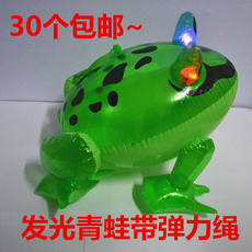 New hot inflatable toy flash bounce frog toy stall eyes shining frog animal luminous toy