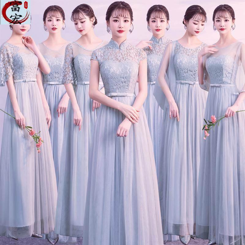 婚纱主持人礼服女大学生春季高中生高贵白色长款中学生冬休闲气质