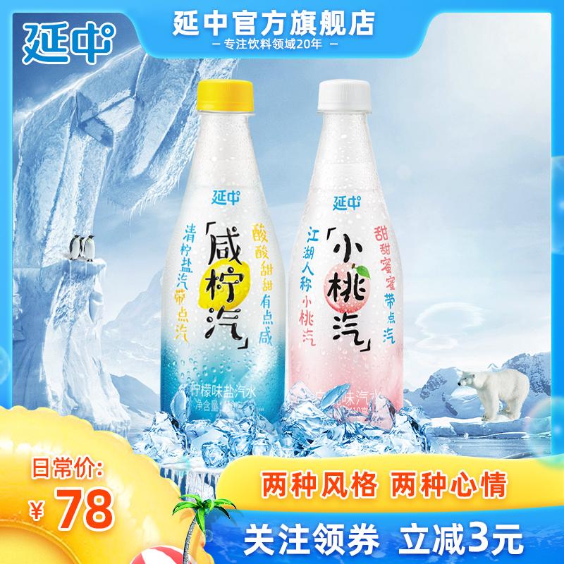 延中 小桃汽&咸柠汽礼盒410ml*24瓶 盐汽水碳酸饮料饮品