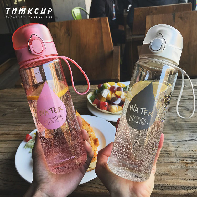 创意便携运动弹跳盖大容量塑料水瓶男女士透明车载防漏太空水杯子