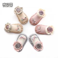 宝宝地板鞋儿童地板袜春季新款花边袜套女防滑软底婴儿鞋袜学步袜