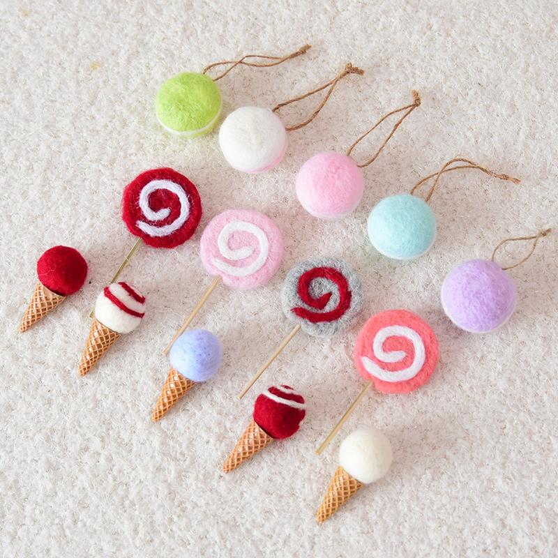 怡然。羊毛毡diy迷你创意冰激凌棒棒糖圣诞树配件挂饰 圣诞节装饰