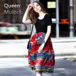 2018新款夏季女装高端欧美大牌中长款修身显瘦真丝短袖高档连衣裙