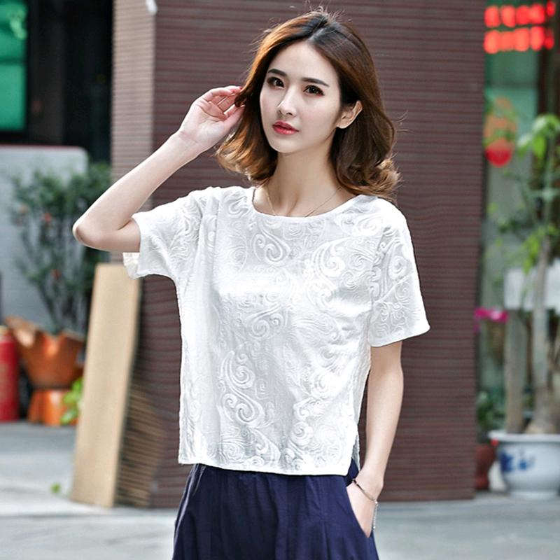 夏季新款女装衬衣宽松大码女士休闲T恤 亚麻上衣短袖棉麻衬