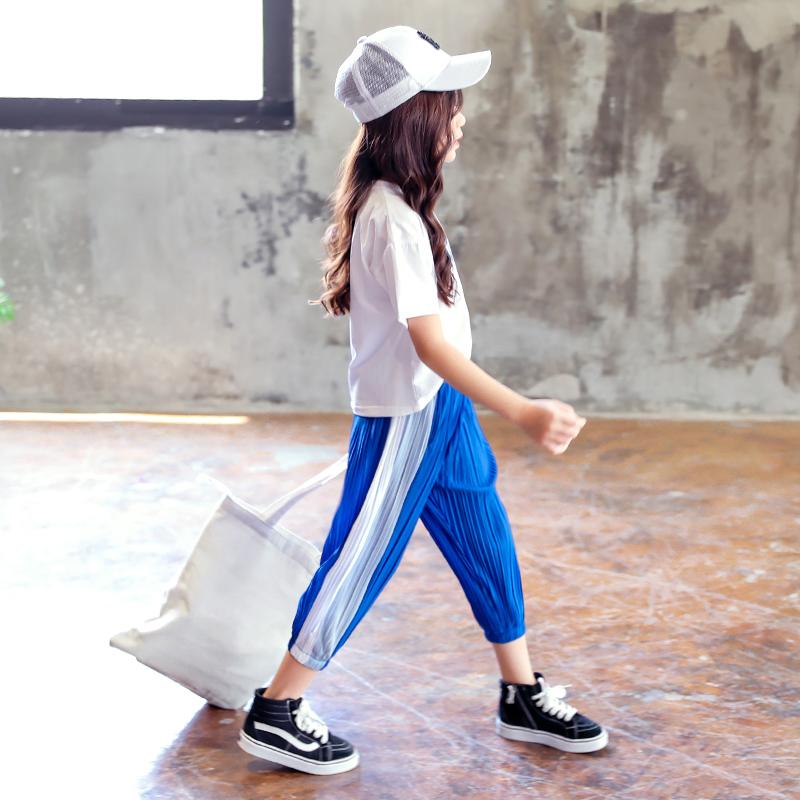 女大童8女童套装夏2019新款10短袖T恤防蚊裤灯笼裤两件套6-12岁孩