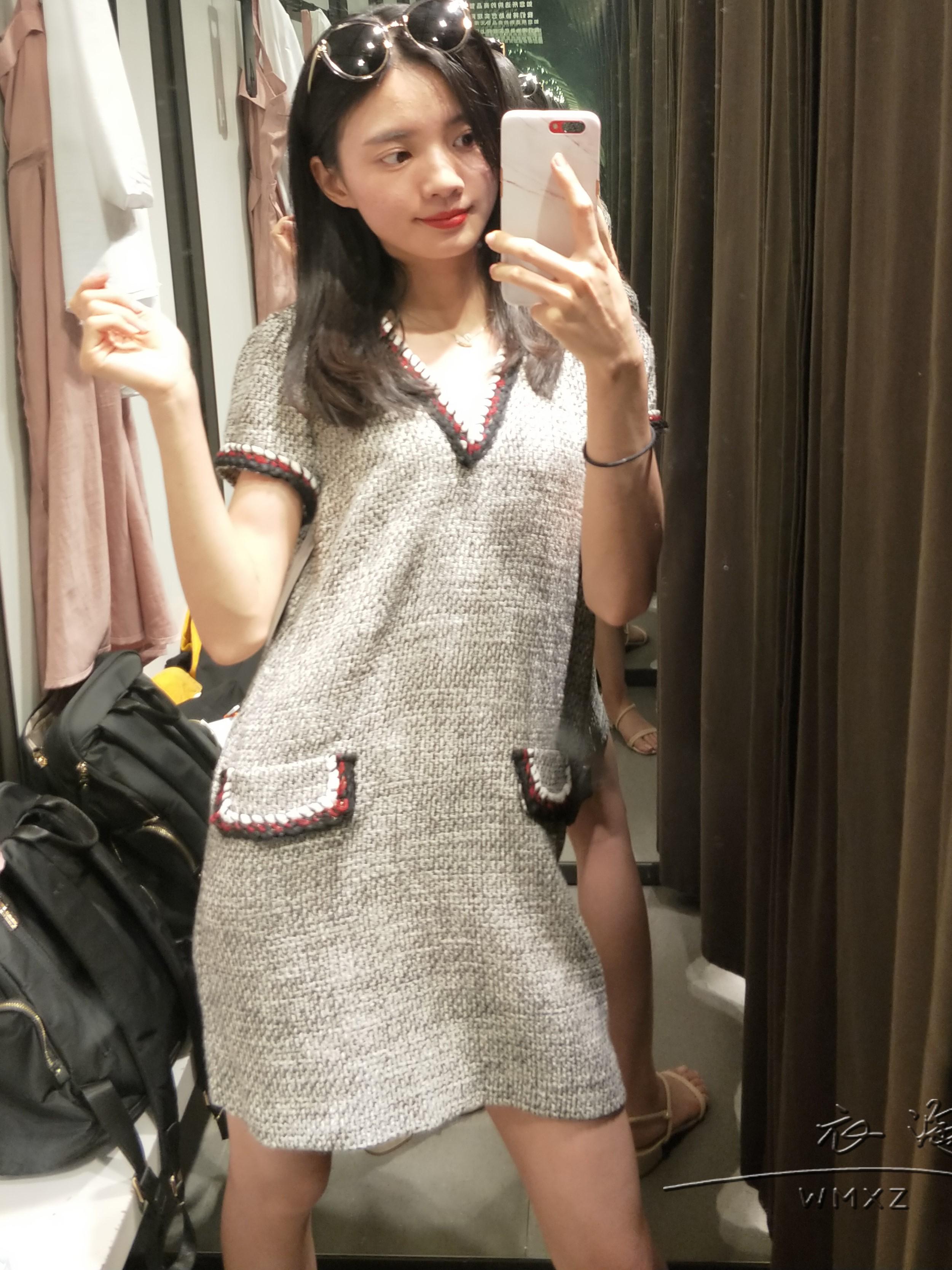 WMXZ 2018秋季新品女装 带饰斜纹软呢连衣裙 7960826 7960/826