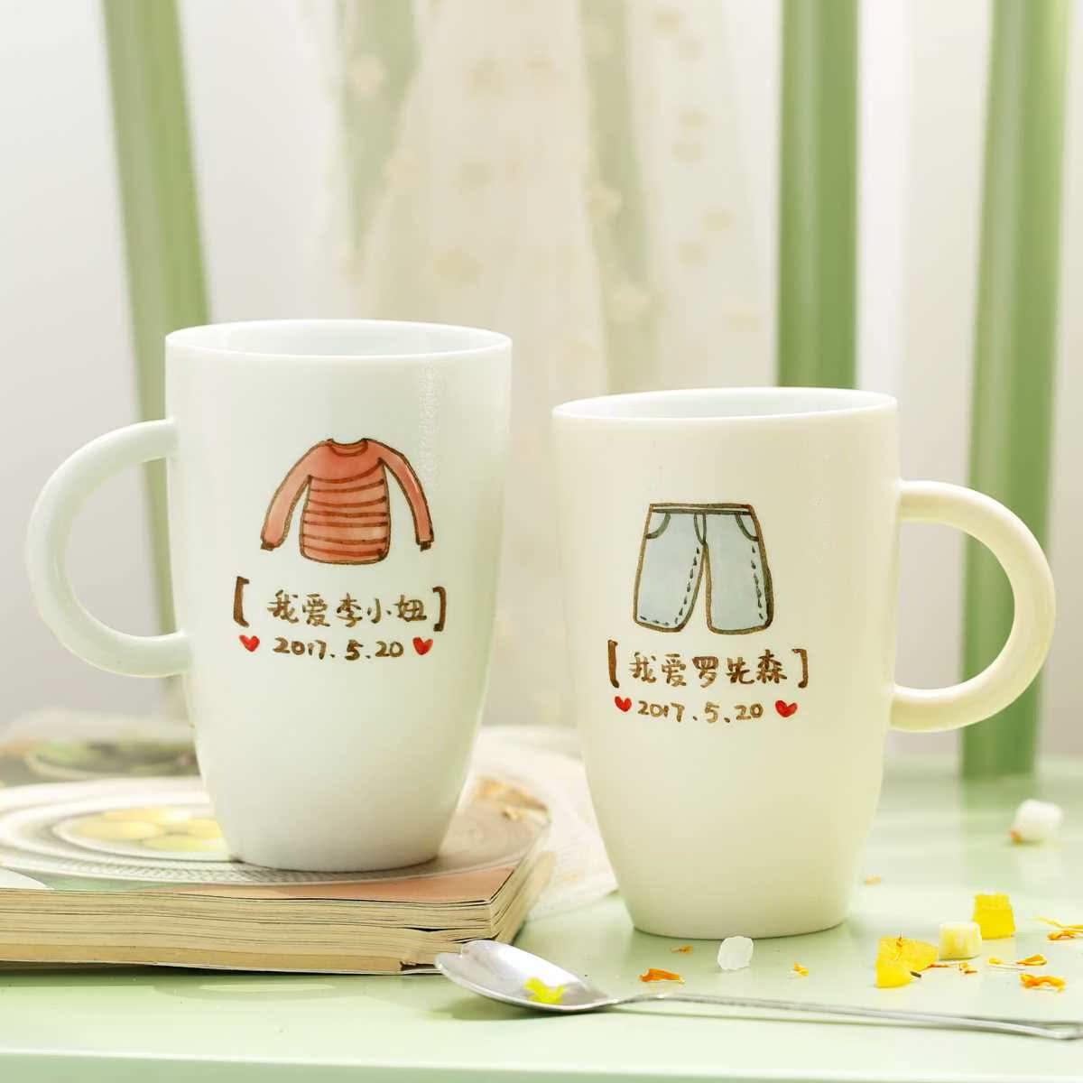 查看淘宝原来是泥 情侣定制礼品创意刻字陶瓷杯子 生日情人节结婚礼物