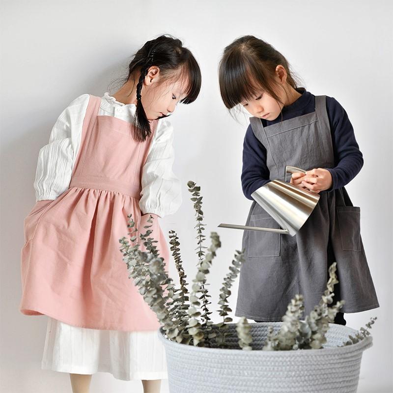 日式棉麻儿童围裙 可爱百褶裙亲子宝宝围裙美容院母婴店韩版围兜
