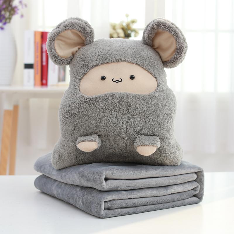毛绒玩具公仔玩偶暖手抱枕被子两用午休三合一珊瑚绒毯子靠垫