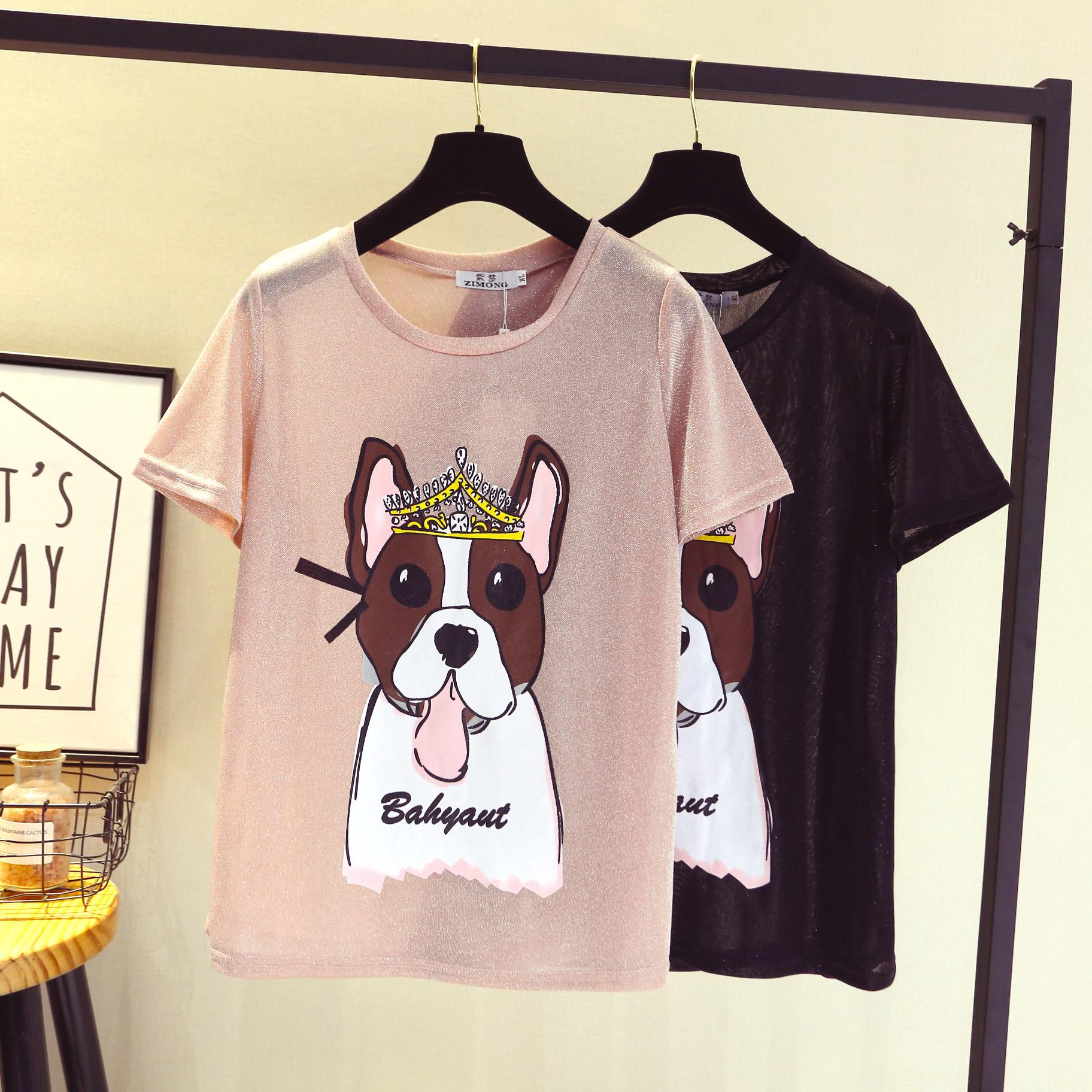加肥加大女装心机上衣200斤胖mm最爱夏季新款宽松亮丝小狗短袖t恤
