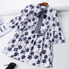 X7 2018 Spring New Fashion Loose High waist Printed Trumpet Sleeve Bow Joker Long Sleeve Dress
