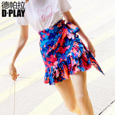 DPLAY Depala 2018 early autumn Europe and the United States ruffled side straps high waist fashion print skirt