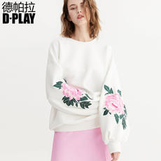 D-PLAY2018 Spring and Summer New Europe and America White Embroidered Lantern Sleeve Sweater Solid Color Wild Casual T-shirt