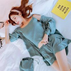 睡衣女士夏季春秋天韩版薄款冰丝吊带短袖性感仿真丝绸家居服套装