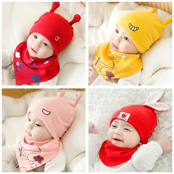 Baby hat spring and autumn 2-6-12-24 months full moon cap men and women baby hat cotton newborn baby cap winter