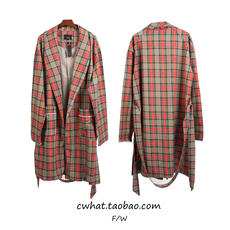 High Street OVERSIZE Loose and Long Side Scotch Plaid Casual Net Red Wu Yifan with Windbreaker