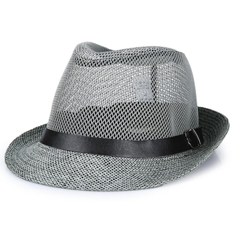 中老年人夏季帽子男士礼帽爸爸防晒透气亚麻草帽凉帽爷爷户外网帽