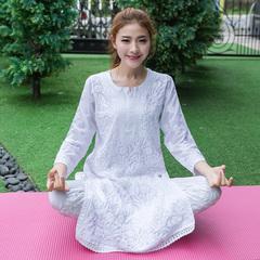 印度专业白色瑜伽服禅修服大师服手工刺绣长袍中长款薄款纯棉上衣