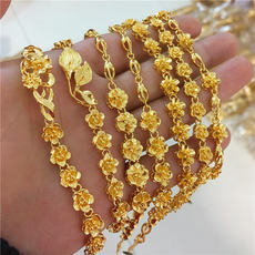 2017 new gold shop with the flower bracelet Vietnam Sha Jin wedding long time not faded ladies bracelets euro coins jewelry