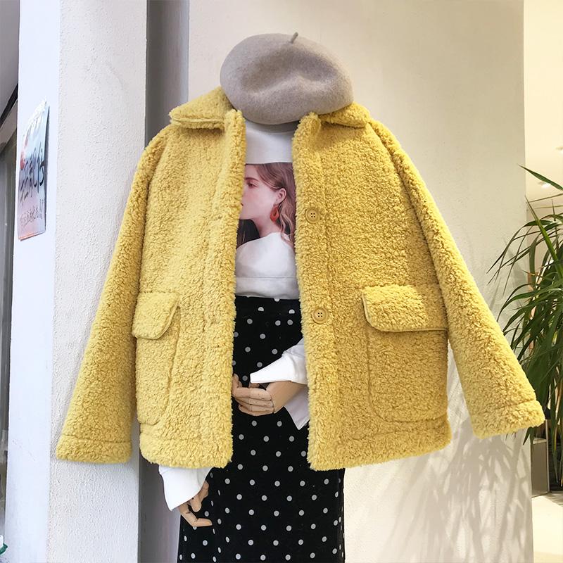 短款羊羔毛外套女冬装新款韩版宽松百搭小个子毛茸茸外套夹克上衣