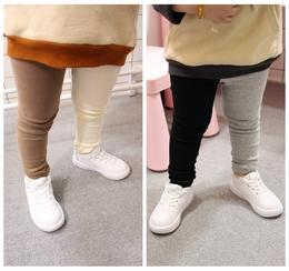 女宝宝撞色打底裤春季新款1-3岁弹力纯棉双色修身长裤儿童AB裤子