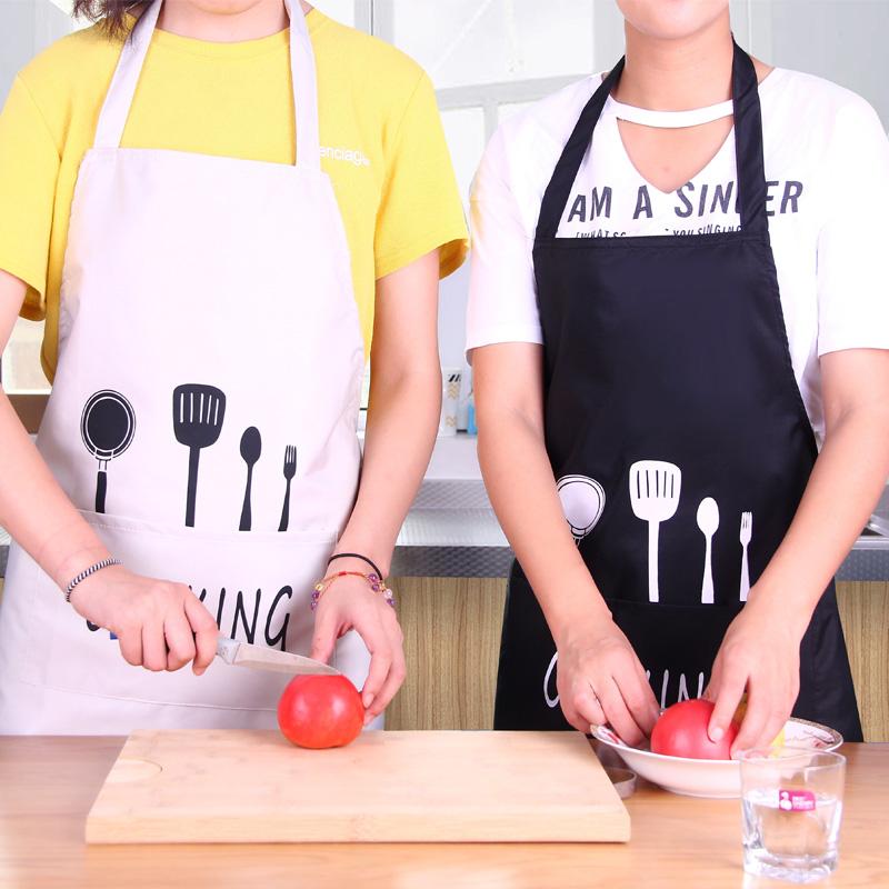 韩版时尚围裙女男家用厨房服务员做饭成人罩衣工作服半身围裙防水