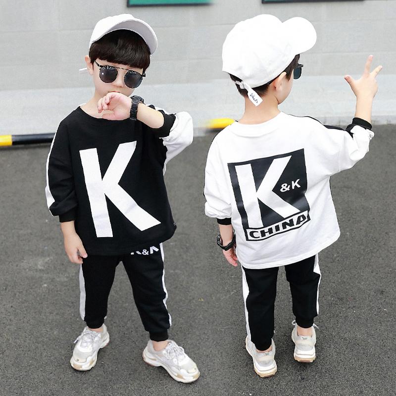 男童秋季运动套装2019新款长袖卫衣字母潮流两件套李现同款KK队服