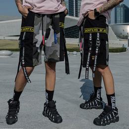 夏季欧美街头潮流嘻哈潮牌迷彩街舞宽松飘带运动五分裤短裤男裤子
