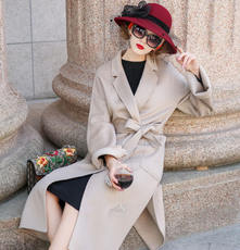 High-end water ripple double-sided hand-stitched cashmere coat female slim long section 2018 braided wool coat beige camel