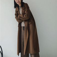 My Daily Bread Autumn and Winter Vintage Caramel Temperament Double-breasted Double-Sided 昵 Wool Coat