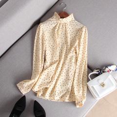 18春夏新品水玉点点减龄加分小波点甜美小立领衬衫女木耳边雪纺