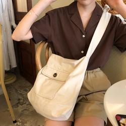 陆小团团 韩系斜挎帆布包包学生女夏季新款单肩帆布袋购物袋女