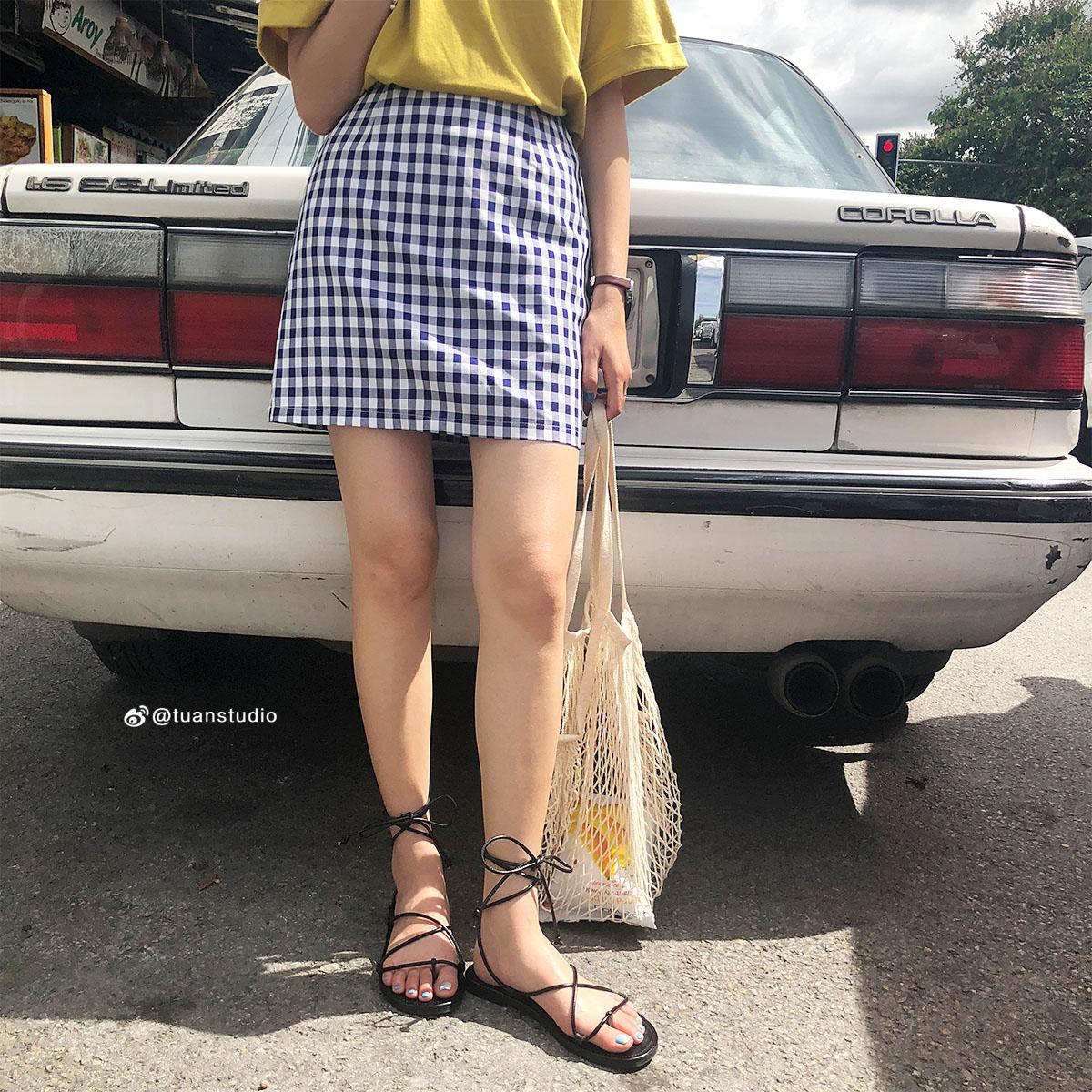 陆小团团 半身裙夏格子短裙A字裙韩范气质高腰显瘦百搭简约休闲.
