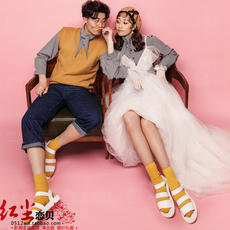 Autumn and winter sweater couple photo dress fashion street shooting casual hip-hop style photo wedding photo studio theme clothing
