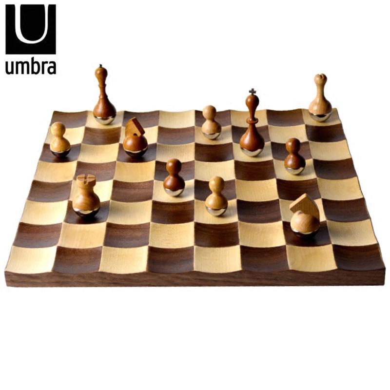 Umbra 高档国际象棋 实木棋盘不倒翁摇摆棋子客厅样板房摆件礼品