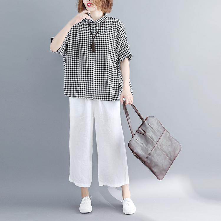 2018夏季新款格子涤棉短袖衬衫女薄款文艺宽松褶皱蝙蝠袖复古上衣