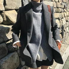 Temperament gray 2018 autumn and winter new chic woolen thickening slim suit jacket simple short woolen coat female