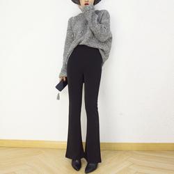 2018春夏女装裤子黑色复古高腰超垂感长裤显瘦微喇叭裤修身西裤女