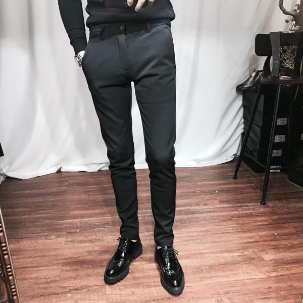 男士修身休闲裤加厚小脚裤韩版发型师小西裤百搭青年加绒长裤显瘦