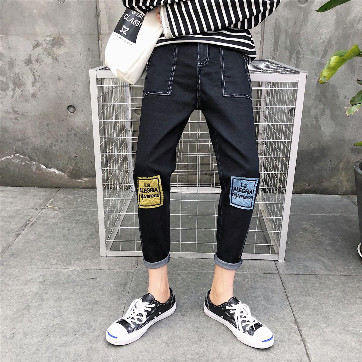 港风夏季男士牛仔裤韩版潮流小脚裤学生修身九分裤直筒百搭裤子男