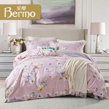 宝缦全棉印花四件套 床上用品 简约时尚花卉 花开时节图片
